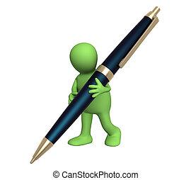 3d, burattino, con, uno, penna