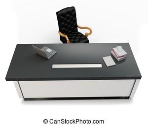 3d, bureau, à, ordinateur portable, et, chaise exécutive