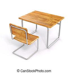 3d, bureau scolaire, et, chaise, blanc, fond