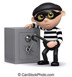 3d Burglar and safe - 3d render of a burglar and a safe