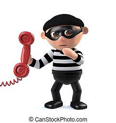 3d Burglar answers the phone