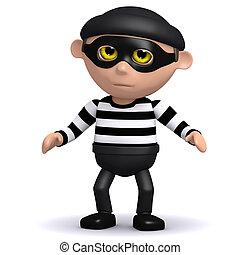 3d Burglar - 3d render of a burglar looking guilty