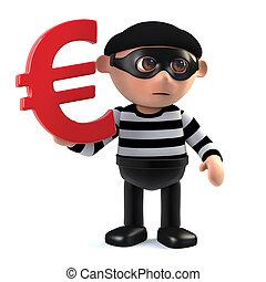 3d Burglar has Euro currency symbol