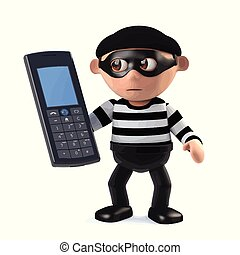 3d Burglar has stolen a cellphone - 3d render of a burglar...