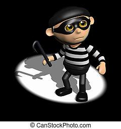 3d Burglar in the spotlight