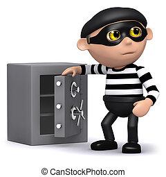 3d Burglar opens the safe - 3d render of a burglar opening a...