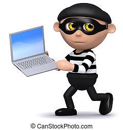 3d Burglar runs off with a laptop - 3d render of a burglar...