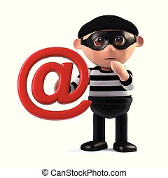 3d Burglar steals someones email address - 3d render of a...
