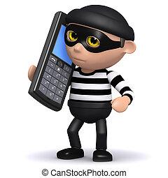 3d Burglar talks on a mobile phone