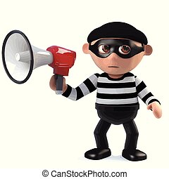 3d Burglar using a megaphone - 3d render of a burglar...