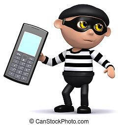3d Burlgar steals a mobile phone