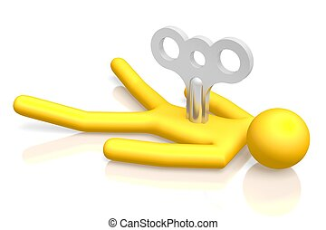 3D burn out concept - 3D yellow cartoon character - burn out...