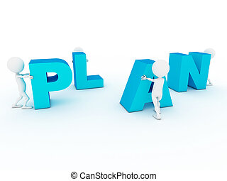 3d business characters building plan word