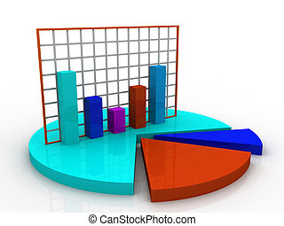 3d business graph and documents;