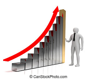 3d business graph concepg