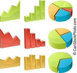 3D business graph icons