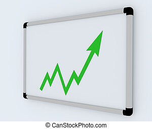 3D Business graph on white office presentation board