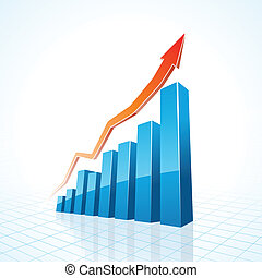 3d business growth bar graph illustration