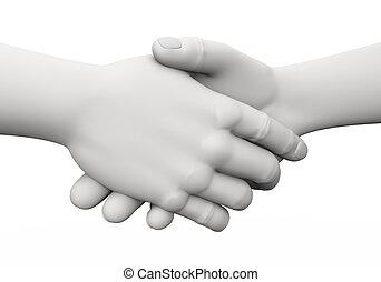 3d business handshake illustration - 3d rendering of ...