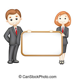 3d Business Man and Woman in Vector - illustration of 3d...