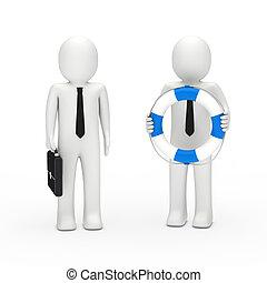 3d business man briefcase and lifebelt - 3d business man...