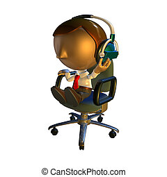 3d business man character sitting in a chair with headphones