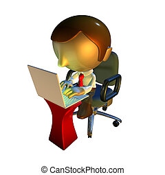 3d business man character sitting with laptop at desk