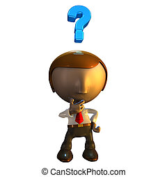 3d business man character with question mark