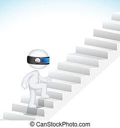 3d Business Man climbing Stair