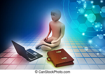 3d business man in meditation