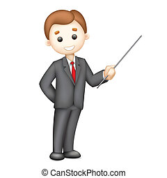 3d Business man in Vector giving Presentation - illustration...