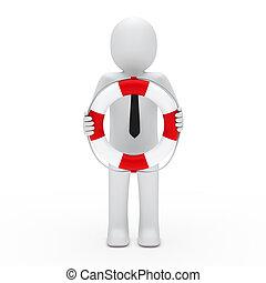 3d business man lifebelt
