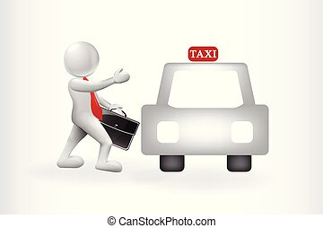 3d business man people get a taxi vector