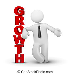3d business man presenting word growth concept