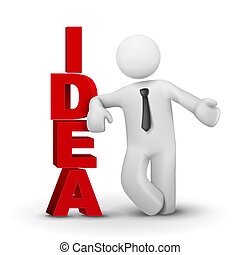 3d business man presenting word idea concept