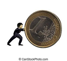 3d business man push a euro coin