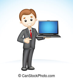 illustration of confident 3d business man in vector showing laptop