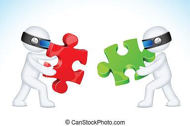 3d Business man solving Puzzle