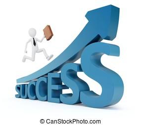 3d business man way to success