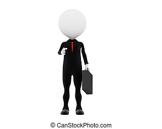 3d business man with briefcase give handshake