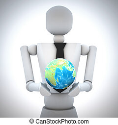 3d business man with earth globe in his hand