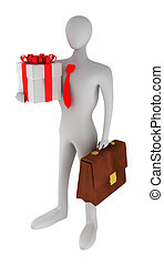 3D business man with gift