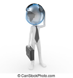 3d business man with globe