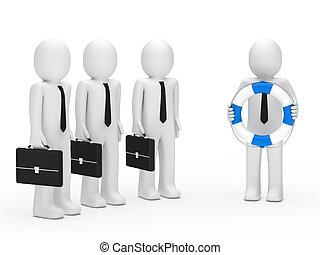 3d business men briefcase and lifebelt - 3d business men...