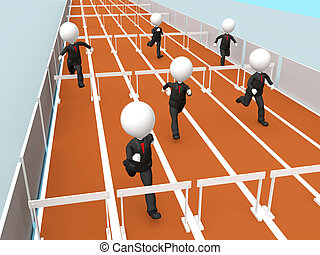 3D business men racing