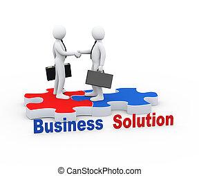 3d business partner on puzzle piece - 3d Illustration of...