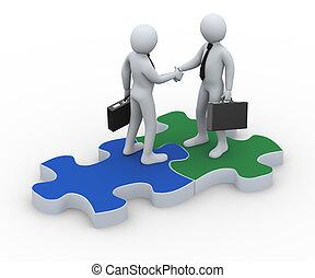 3d business partner on puzzle piece