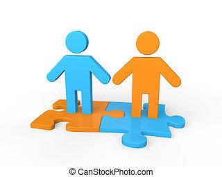 3d business partnership concept