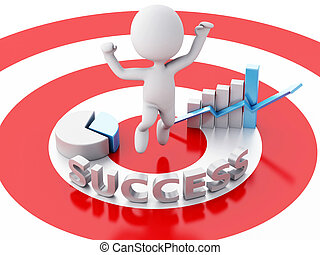 3d business people, happy jumping for the success in red target.
