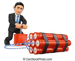 3D Businessman detonating a dynamite bomb. TNT